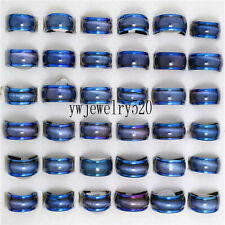 10pcs Wholesale Jewelry Lots Blue Cat eye Stainless steel fashion Rings FREE