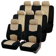Beige 3Row SUV Split bench Car Seat Covers Full Set For Honda Toyota more