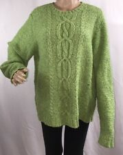 Cherokee Wool Blend Sweater Marled Green Cable Knit Warm Comfy Top - XL