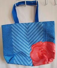 LANCOME Large Blue & Orange with Flower Tote Retail/Shopping Checkout Bag
