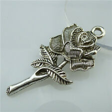 13586 7PCS Alloy Antique Silver Tone Large Rose Flower Plant Love Pendant Charms