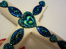 HEARTS BLING PEACOCK BLUE CROSS EASTER WOOD WALL DECOR UNIQUE PLAQUE HANDCRAFTED