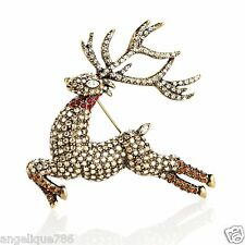 Heidi Daus Glitzen Reindeer Pin SOLDOUT EXQUISTE ONE OF A KIND SWAROVSKI CRYSTAL
