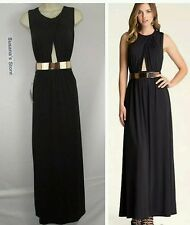 NWT BEBE BELTED CUTOUT GOWN SIZE  S Glamorous gown with posh crossover bodice!!