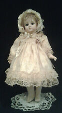 "Antique Style Satin & Lace 2pc Dress & Bonnet French Jumeau German apx 16"" Doll"