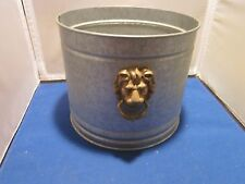 "Galvanized Metal Bucket or Pail Flower Pot with Lion's Heads 7"" TALL 8"" ACROSS"