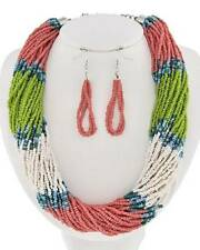 Multi Strand Pink And Multi Color Glass Seed Bead Necklace Earring
