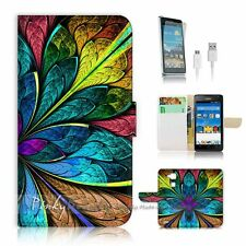 Huawei Ascend Mate 7 Flip Wallet Case Cover! P1587 Abstract Flower