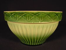 RARE 1920s GREEN GLAZE DIAMOND PATTERN BOWL YELLOW WARE