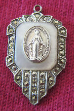 Antique Catholic Religious Medal - STERLING MARCASITE - Miraculous - A. GALE MOP