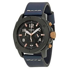 Fossil Modern Machine Chronograph Black Dial Blue Leather Quartz Mens Watch