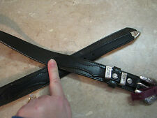 New O/S 2-Tone Black LEATHER RANGER STYLE WESTERN BELT Silver Buckle VIATEX 34
