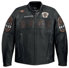 Harley Davidson Men's MOTO Black Leather HDMC MOTORCYCLE Jacket L 97129-13VM New