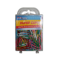 300pce Multi-Coloured 28mm Paper Clips in Hard Case, Great for Home, School Work