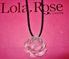 LOLA ROSE AMAZING MATTE ROCK CRYSTAL CARVED FLOWER PENDANT NECKLACE NEW IN POUCH