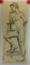 Jules Germain 2 dessins fusain et/ou crayon?? années 1910/40 homme nu/JG7