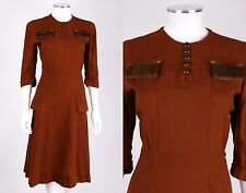 VTG 1940s RUST BROWN WOOL PEPLUM DRESS GENUINE MINK FUR TRIM SZ S