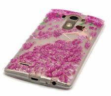 For LG G4 - SOFT TPU RUBBER GUMMY SKIN CASE PINK CLEAR BUTTERFLY FLOWER DRESS