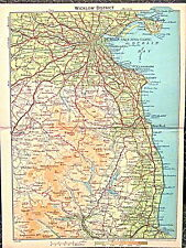 Map WICKLOW DISTRICT South of Dublin IRELAND Landforms Towns J Bartholomew 1890s