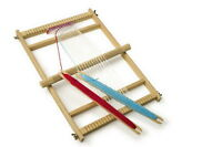 TOY DELUXE TRADITIONAL WOODEN WEAVING LOOM CRAFTWORK &  SHUTTLES GIRLS GIFT