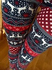 PICK! SNOWFLAKE REINDEER warm winter knitted leggings FUR S M L XL PLUS 1X 2X 3X