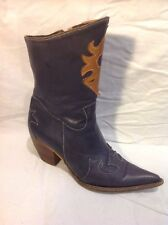 Vera Gomma Grey Mid Calf Leather Boots Size 38