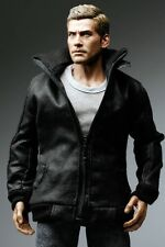 The Vogue Black Leather Smart Zipper Jacket for 1/6 Action Figure Enterbay TTL