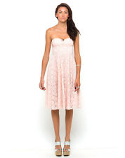 BNWT Motel TopShop Dress XXS 4-6 Midi Strapless Floral Lace Pastel Pink Nude