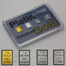 Quattro Preziosi 1 Grammo 999 Oro Argento Platino & Palladium con Scatola