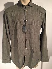 Scotch and Soda Slim Fit Retro De Luxe Casual Brown Gray Shirt Size XXL New