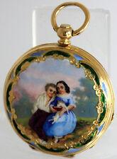 A VERY FINE GOLD beautiful CASE & ENAMEL Painting  POCKET WATCH ca.1870