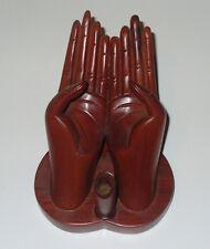 Handcrafted Hands Wood Desk Pen Holder