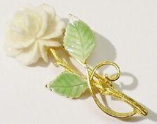 broche la rose blanche bijou vintage couleur or poli brillant top qualité 4447