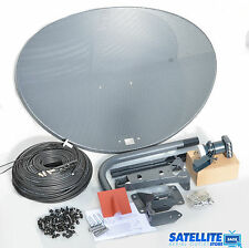 Freesat / Sky 80cm zone 2 satellite dish & quad lnb + 20m Black coax install kit