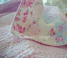 KING QUILT SET SUMMERS COTTAGE SHABBY BEACH BLUE PINK ROSES CHIC & KING SHAMS