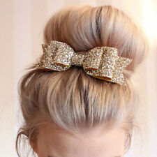 Women Girls Glitter Bowknot Bow Barrette Spring clip Hair Accessories  Xmas Gift