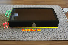 Jewelry Gemstone Showcase Display Case Glass Top Portable Travel Box Black