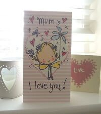 Juicy Lucy Mum I love you Birthday Mother's Day Card Diamante Fairy Hearts Mummy