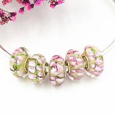 5pcs MURANO Lampwork charm Beads fit 925 silver European Bracelet Chain a1027