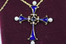 Faberge Mitternachtskreuz 585 Gold mit Saphiren, SELTEN, kein Bruchgold