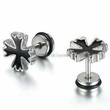 Unisex Men's Stainless Steel Stud Earrings Silver Black Cross Vintage Style