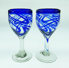 WINE Glasses, Mexican Glass,  blue swirl, hand blown, 10 oz (set of 2)