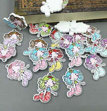 20X  Wooden Sewing Scrapbooking Buttons Mermaid  2 Holes Crafts Decorative 33mm