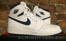 Nike Air Jordan 1 Retro High OG BG UK4.5 EU37.5 White Navy 575441 106 Basketball