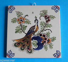 Delft Holland Hand Painted Peacock Ceramic Tile Trivet Wall Hanging 5.25""