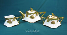Antique Jean Pouyat Limoges Art Nouveau Encrusted Gold Teapot, Sugar Bowl and Cr