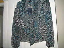 LADIES (NEW) M&S LIMITED EDITION BLOUSE-BLUE/BLACK PRINT WITH TIE SIZE 12/6