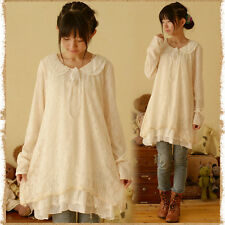 Japanese Mori Girl Vintage Lace doll collar Loose long Sleeve Dress Sweet Lolita