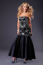 Black satin beaded lace up ball gown