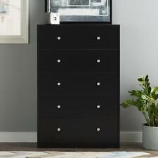 5 Drawer Chest Sustainable Wood Plastic Drawer Runners/Pulls Black Finish